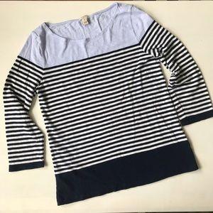 J.Crew Factory 3/4 Sleeve Mariner Striped Tee - M